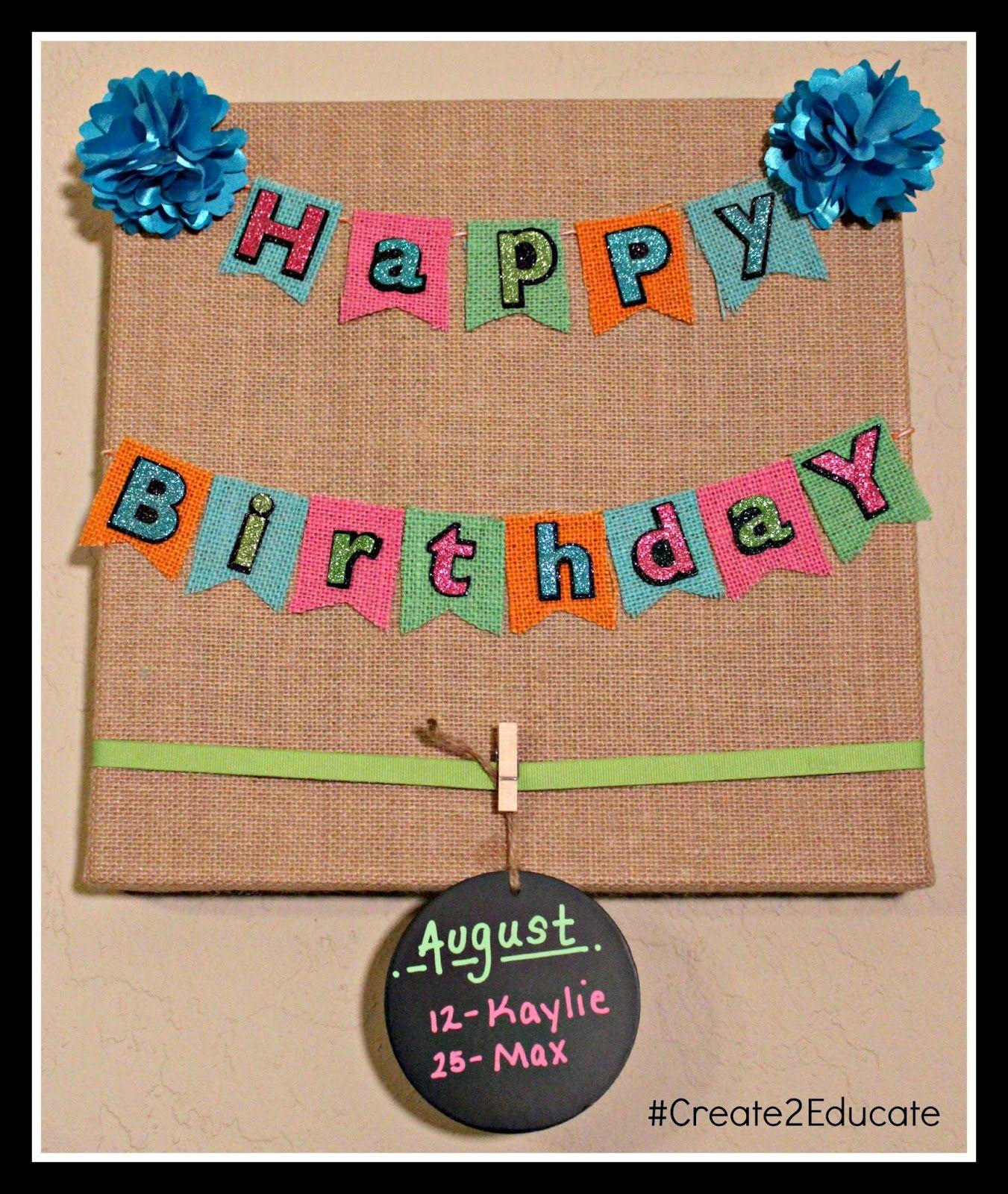 Birthday Board Display - for teachers lounge, change teachers each month.