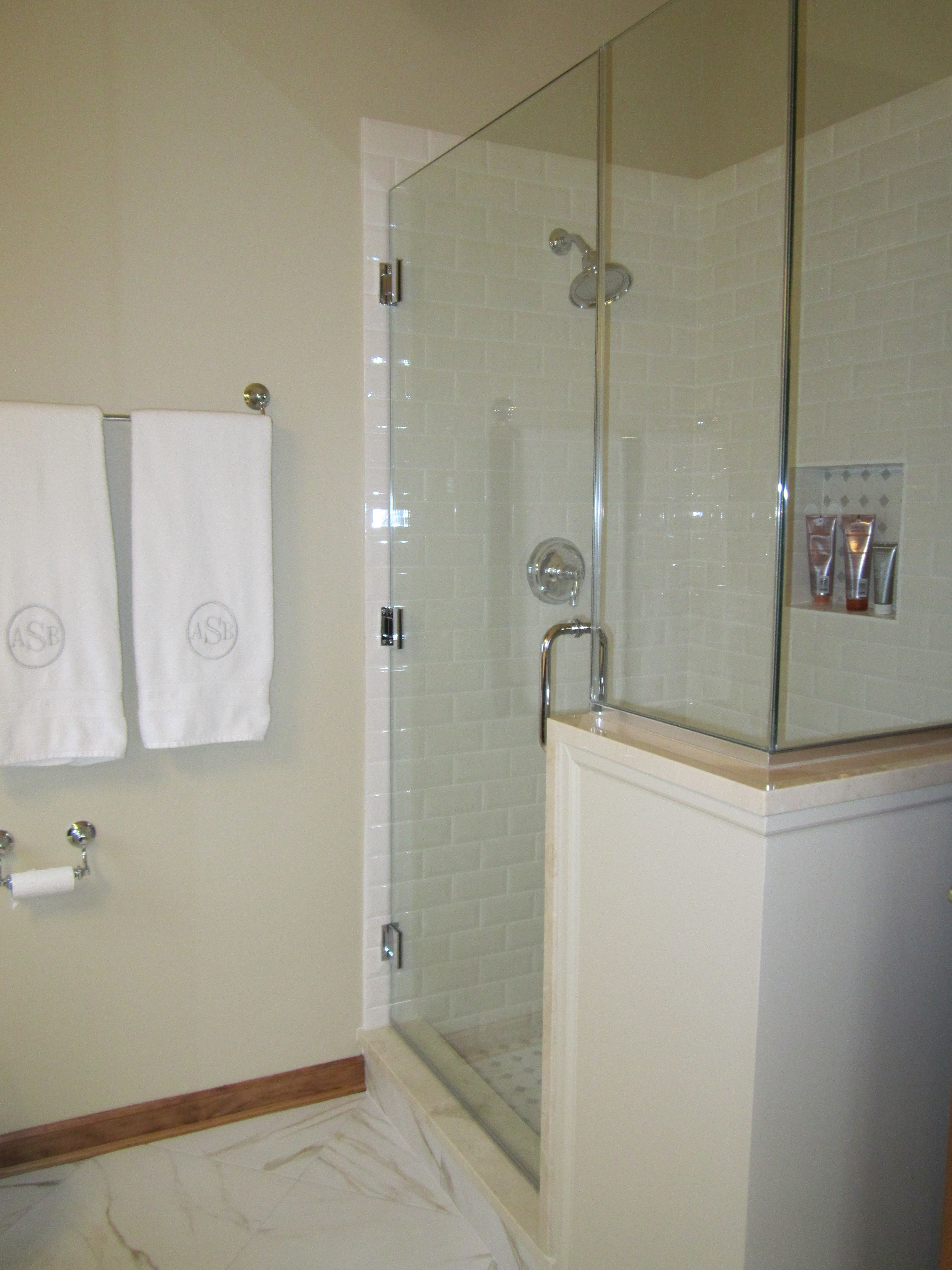 Shower With Frameless Door And Knee Wall Home Sweet Home