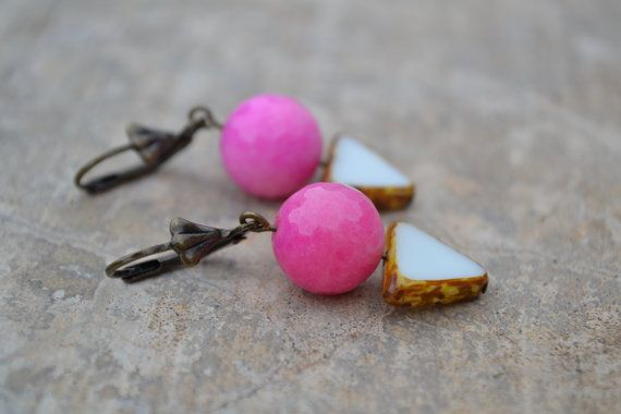 Hot Pink Faceted Glass Drops and white Czech Glass by HedgeByLexy, $13.00