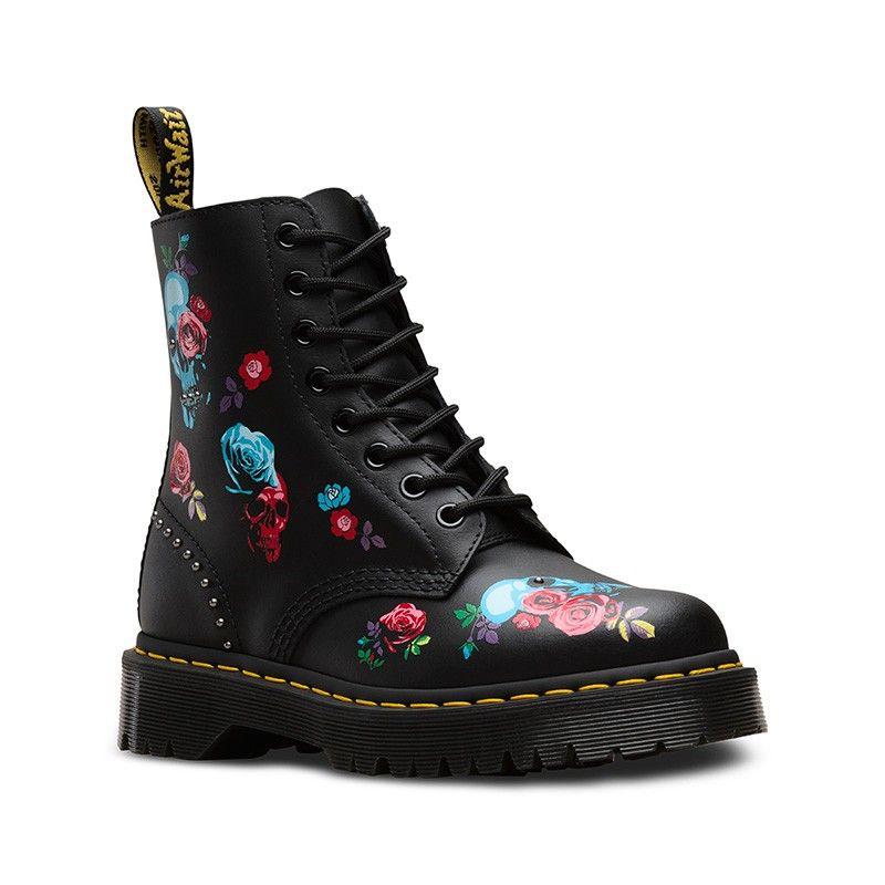 Dr. Martens Black 1460 Pascal Rose Bex Skulls BootsBooties