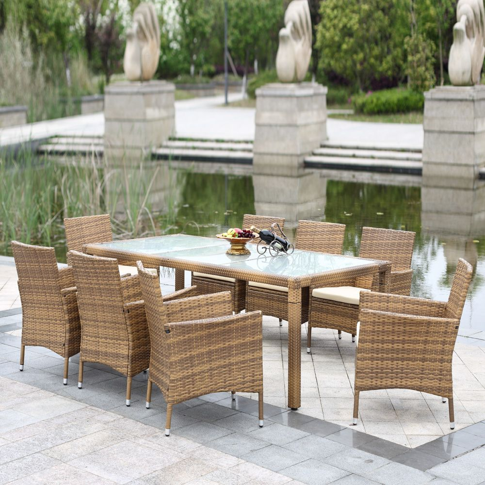 Brown Ikayaa 9pcs Rattan Wicker Outdoor Patio Dinning Table Set Light Brown Lovdock Com Patio Seating Outdoor Wicker Patio Furniture Quality Outdoor Furniture