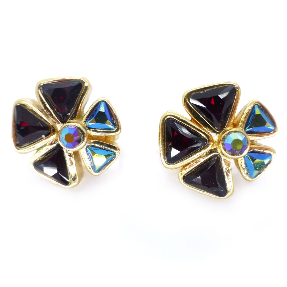 Vintage Christian Dior Gold Tone Floral Glass Clip On Earrings