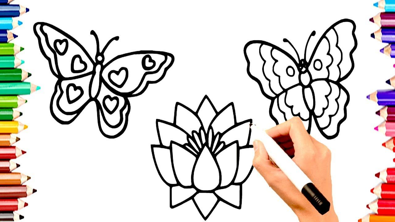 Teach Children Draw Butterfly Lotus Flower Coloring Book Pages Learn E Tatuagens