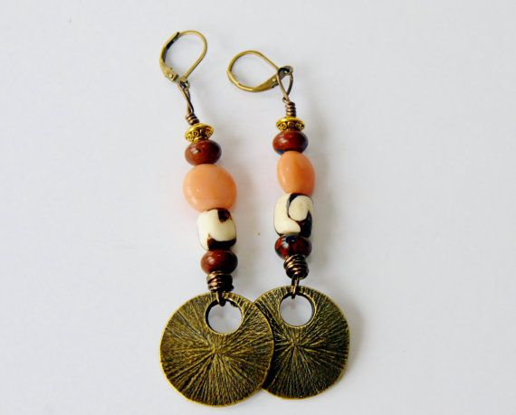 Afro Earrings  Brass Dangle Earrings Batik & by ZenCustomJewelry, $18.00