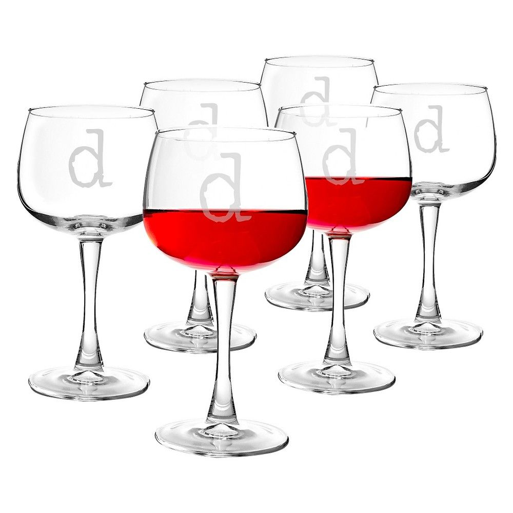 Cathy's Concepts Personalized 13oz. Red Wine Glasses (Set of 6)-D, Clear