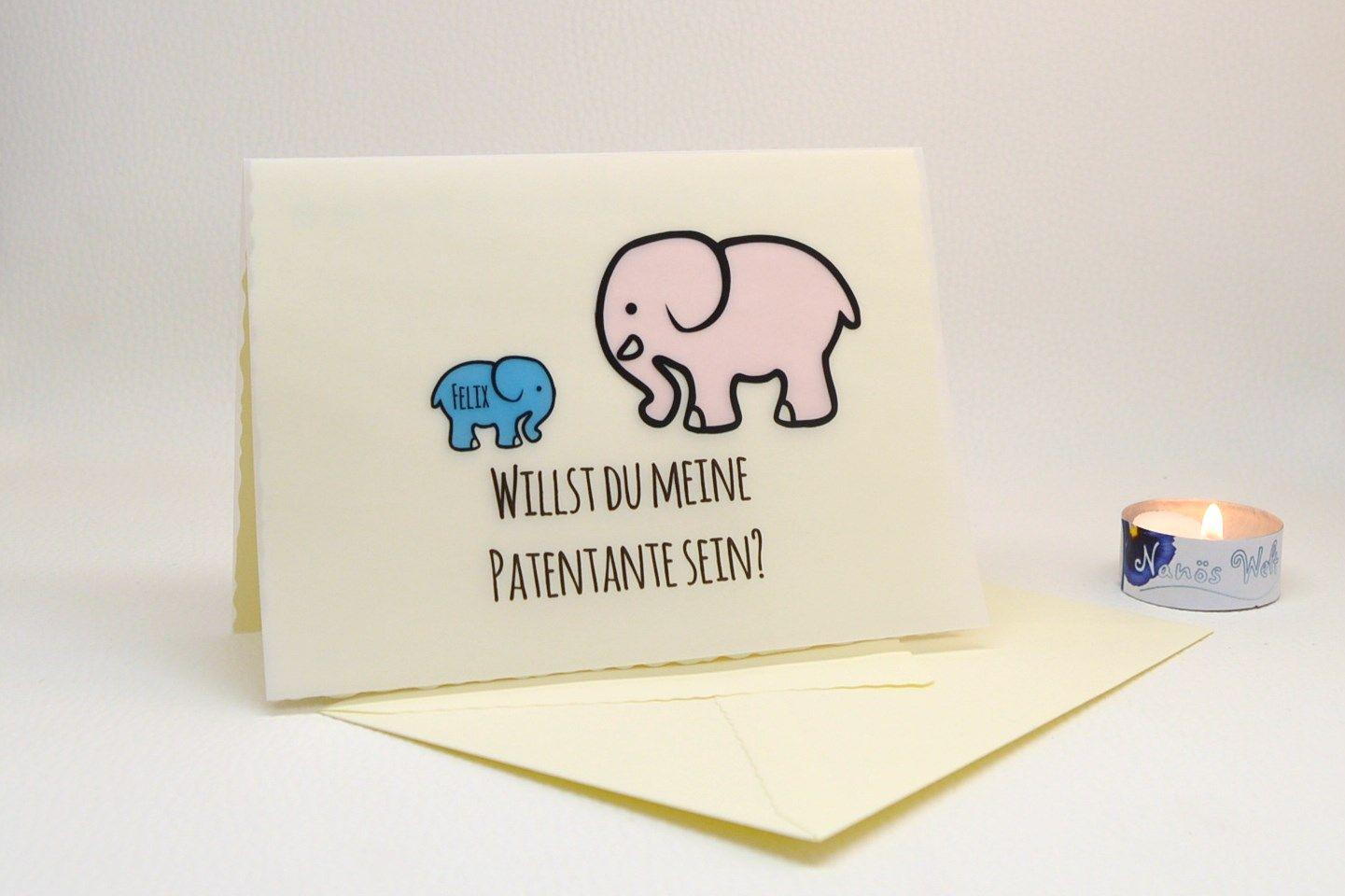 Karte Mochtest Du Meine Patentante Sein.Karte Mit Elefanten Willst Du Mein Patenonkel Meine