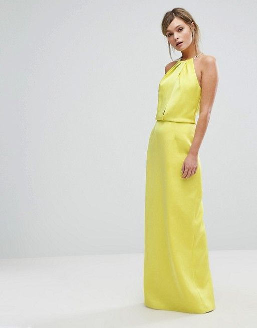 4b1265004b27f5 Yellow Ted Baker Maxi Dress with Chain Necklace from Asos