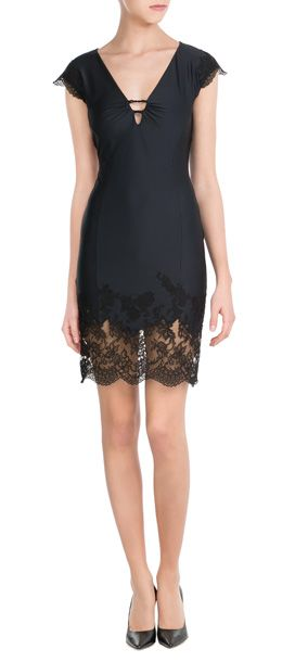 Ermanno Scervino's fluid black dress is glossy in satin, and made even sultrier with a trim of sheer lace at the hem. Barely-there capped sleeves and a plunging neckline add feminine drama #Stylebop