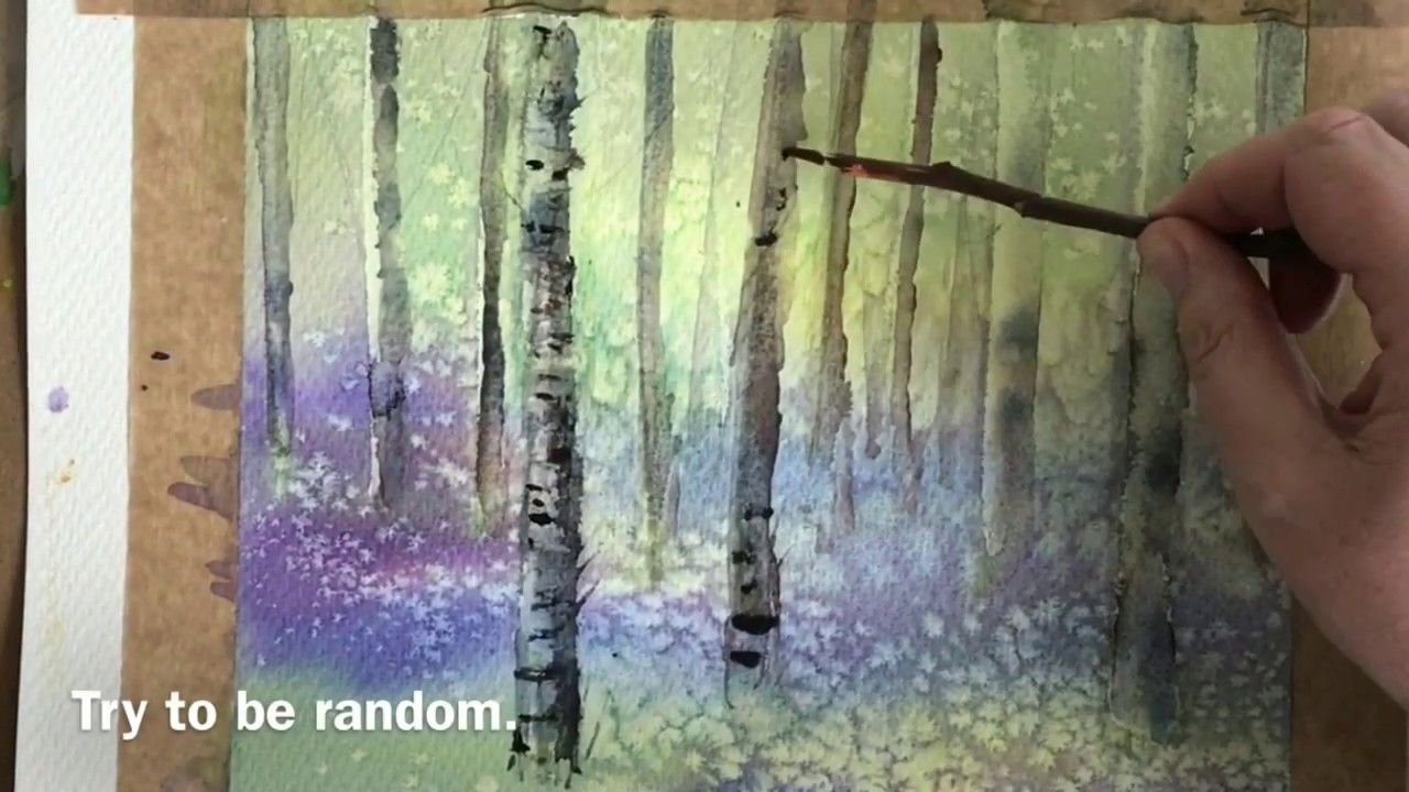 How To Paint Easy Bluebells And Silver Birch Trees In Watercolour