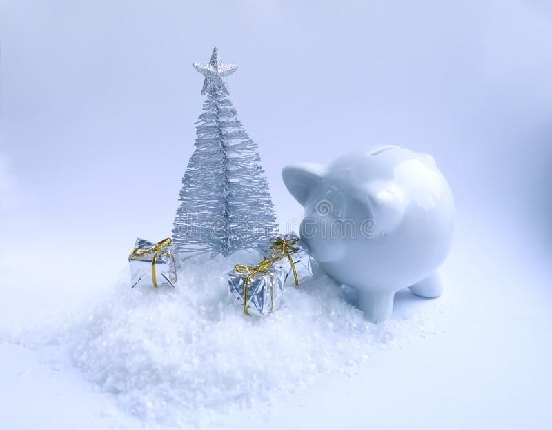 Decorative Christmas Tree Ceramic Pig Money Box And Gift Boxes On Fluffy Snow B Sponsored Ceramic Pig Money Decor Money Box Christmas Tree Ceramics