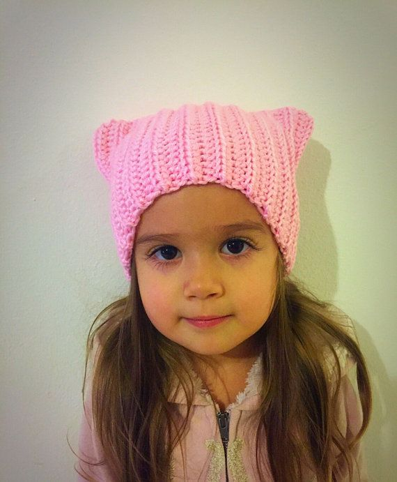 Pink pussycat hat, pussycat hat, pink cat hat, cat hat with ears ...