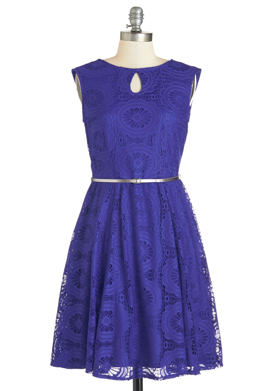 Networks like magic dress knit lace purple solid lace belted