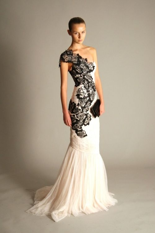 Stunning Wedding Dresses Tumblr : One shoulder dress with stunning black lace detail. this is my