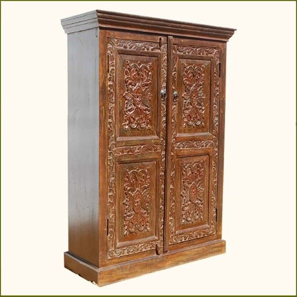 Solid Wood Carved Storage Armoire Wardrobe Closet Shelf ($682) ❤ Liked On