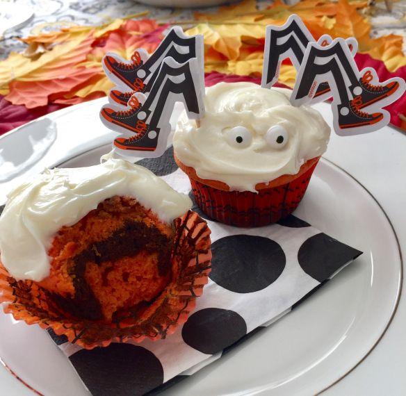 Sister Sweetly's Autumn Velvet Spider Cupcakes