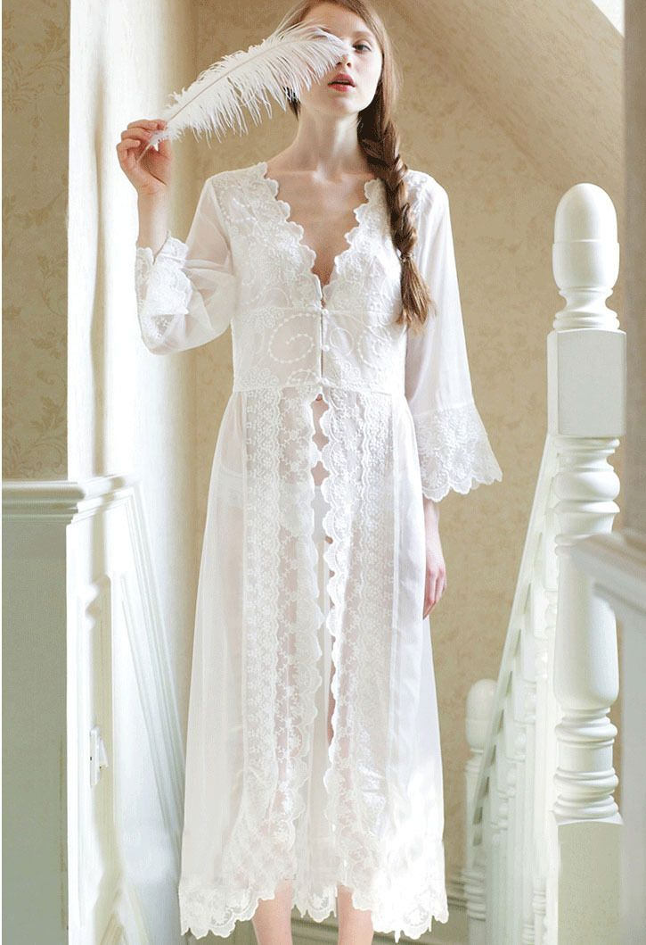 8605b6722b Image result for beautiful nightgowns. Pure Sexy Long Nightwear White Lace  Vintage Princess Dress Medieval ...
