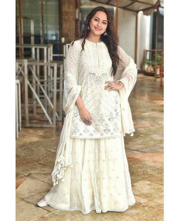 Pakistani sharara suit Indian Pakistani wedding Salwar suit Bridesmaids dress white kurta suit Punja