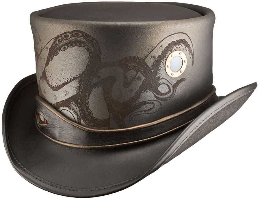 b14cc90aef2 Head N Home Timeport Brown Leather Top Hat with Gadgets Galore - Travel  back in time with the Steampunk Timeport Top Grain Leather Top Hat.
