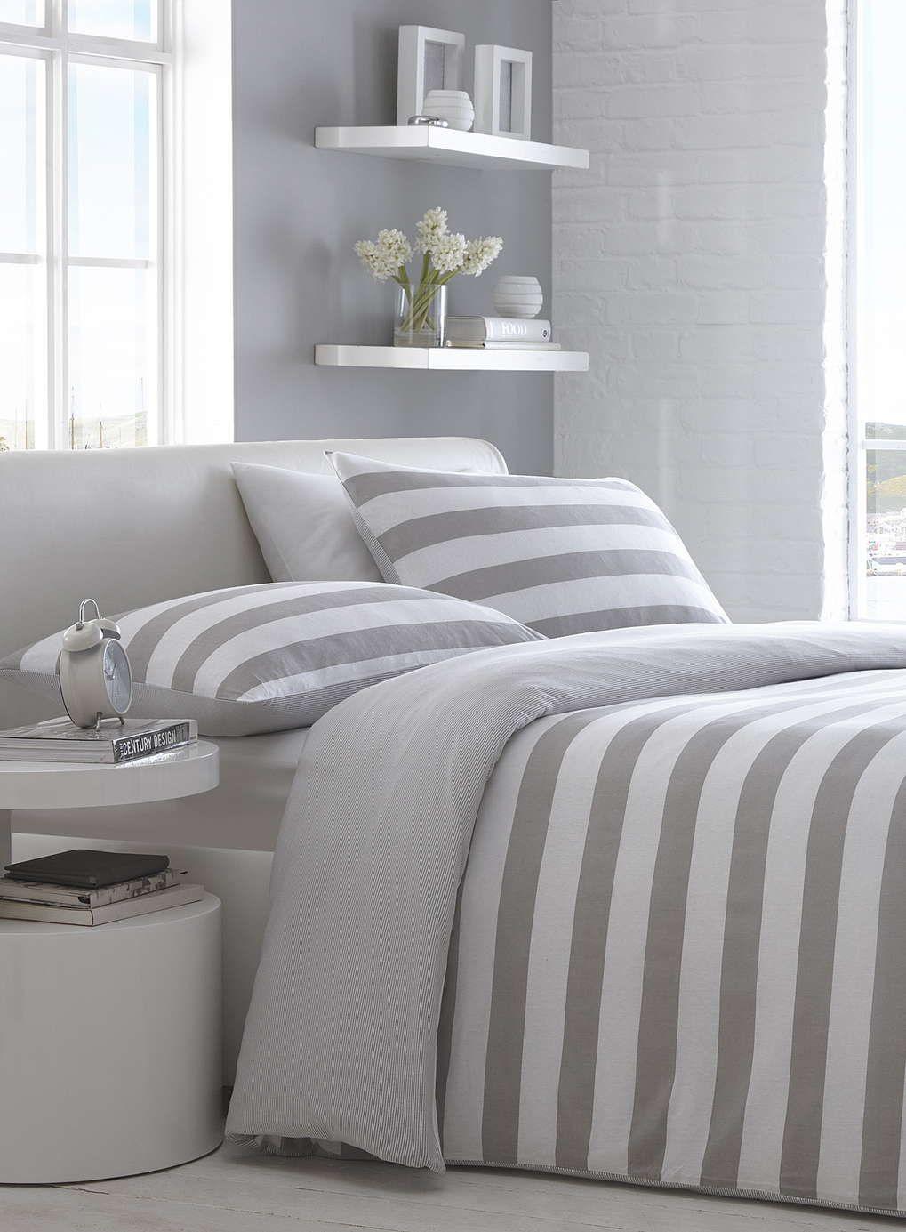 Natural Wide Stripe Jersey Bedding Set Duvet bedding