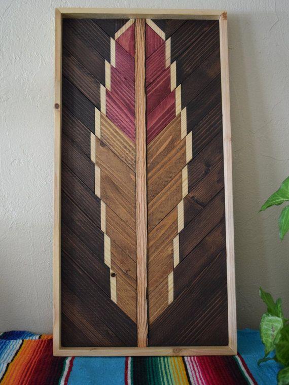 TURQUOISE Wood Wall Art Hanging - Feather Wooden Wall Art Hanging - Wood Art Wall Hanging - Modern Wood Art - Geometric Wood Art - Boho Art