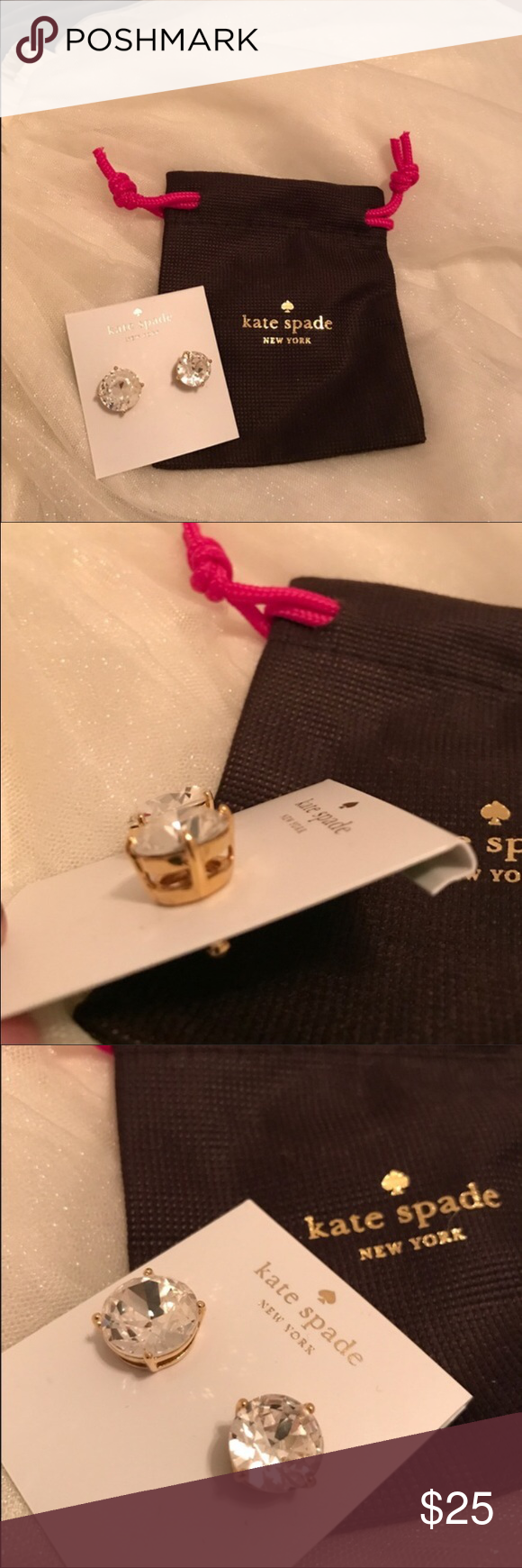 NWT 🎀 Kate Spade Gumdrop Earrings 🌺 NWT Kate Spade Gum Drop Stud Earrings in Clear. Beautiful statement piece! 🎀👛🌺Gold mounting & clear stones go with any outfit! kate spade Jewelry Earrings