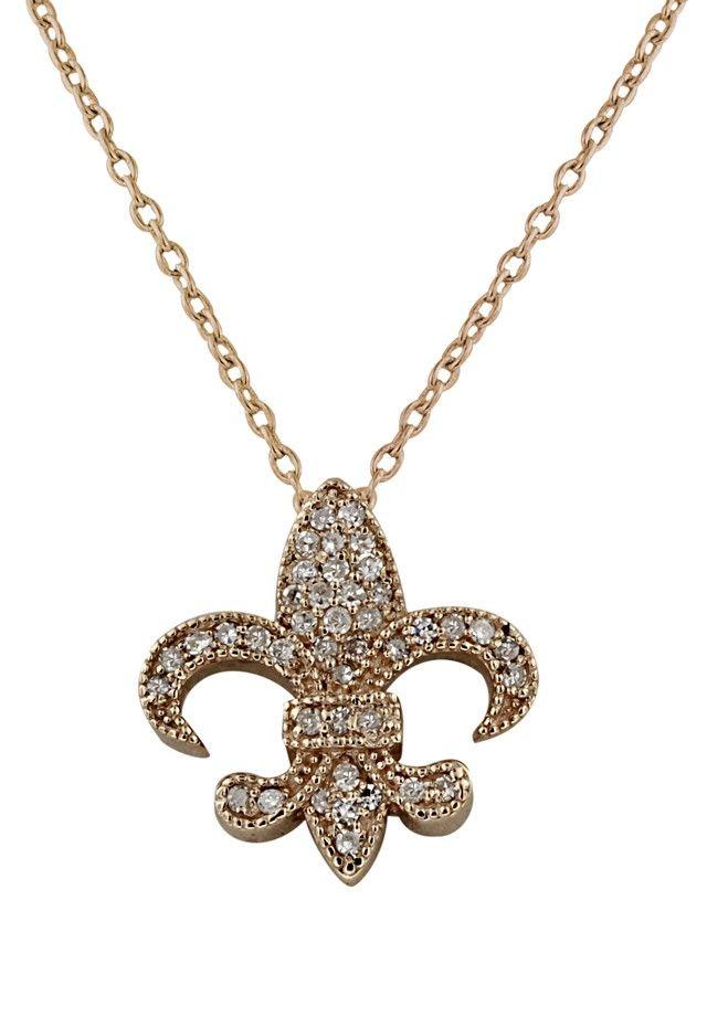 14K Rose Gold Diamond Fleur-De-Lis Pendant, .21 TCW