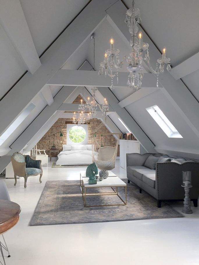 Chandeliers in the attic home pinterest attic for Attic bedroom ideas