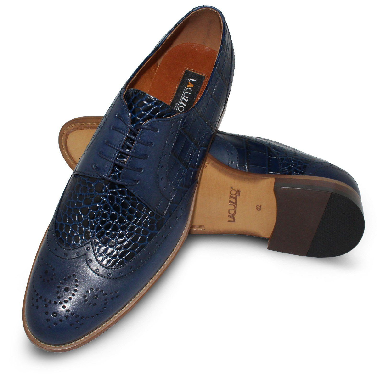 Lacuzzo Mens Leather Designer Dress Casual Retro Sole Formal Shoes Black