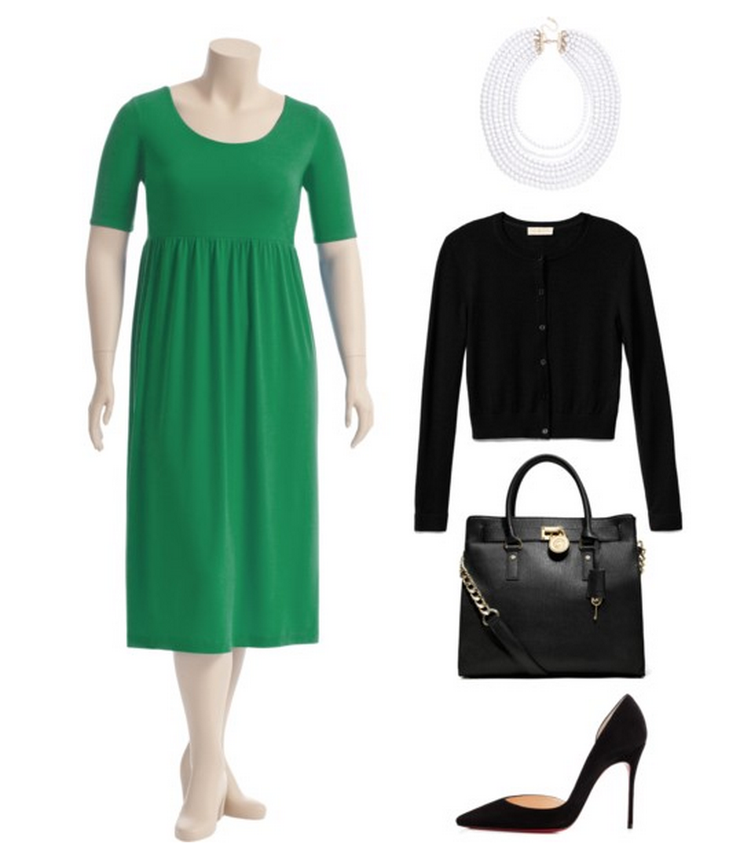 Work emerald into your workwear with our empire waist 'Cassandra' dress in gorgeous green with black and white accessories! #plussize ^CD