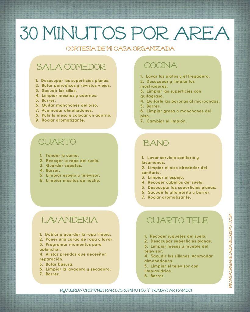 Mi Casa Organizada Imprimible Lista De Tareas 30 Minutos Por  ~ Por Donde Empezar A Limpiar Una Casa