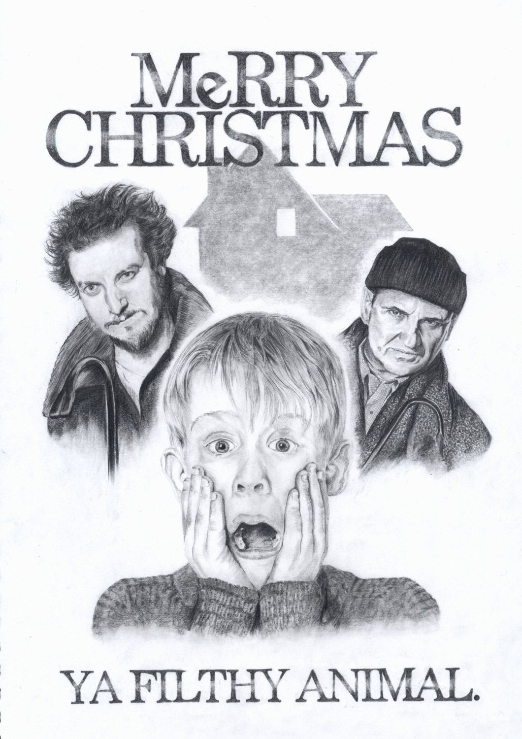 Home Alone Print Etsy Alone Art Home Alone Xmas Drawing