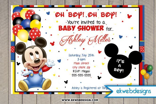 Baby Mickey Mouse Custom Baby Shower Invitations Baby Shower
