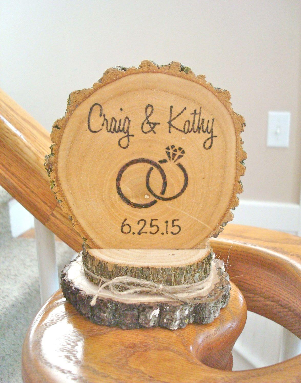 Rustic Wedding Cake Topper Wood Wedding Ring Personalized Retro ...