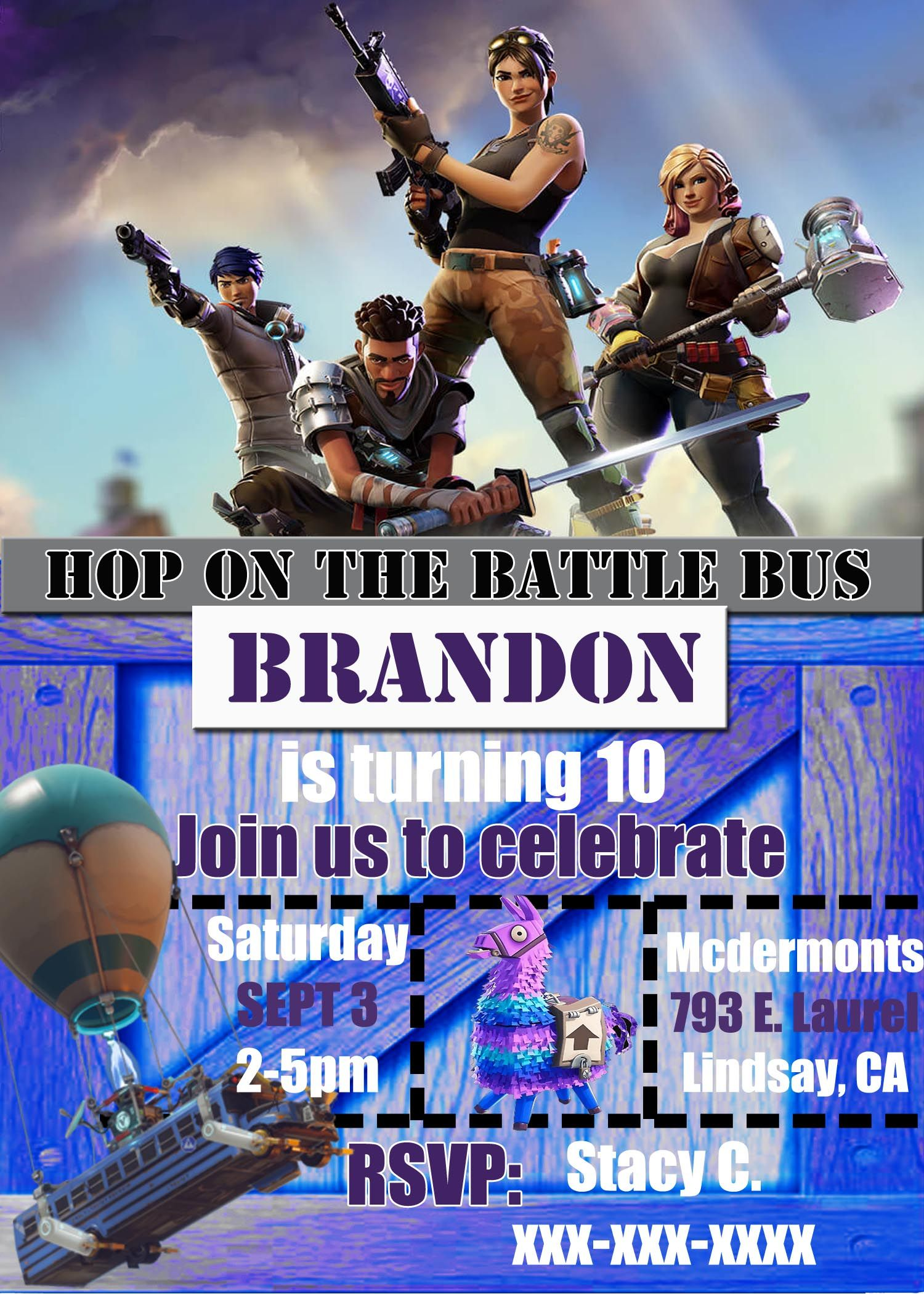 FREE Fortnite Birthday Party Printables | Invitations