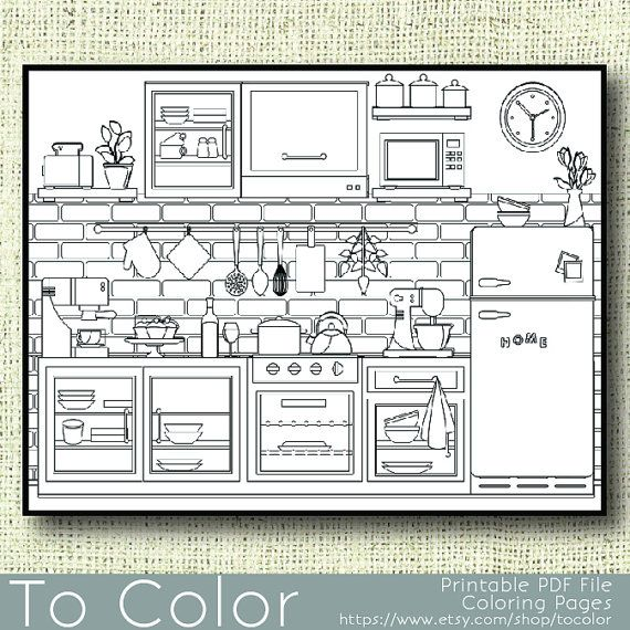 Printable Kitchen Coloring Page For Adults Pdf Jpg Instant