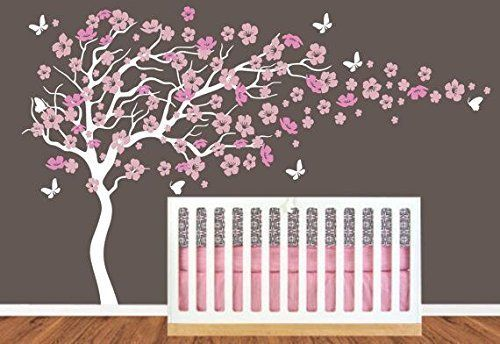 chambre d 39 enfant grand arbre en fleur de cerisier avec pr nom art decals sticker mural. Black Bedroom Furniture Sets. Home Design Ideas