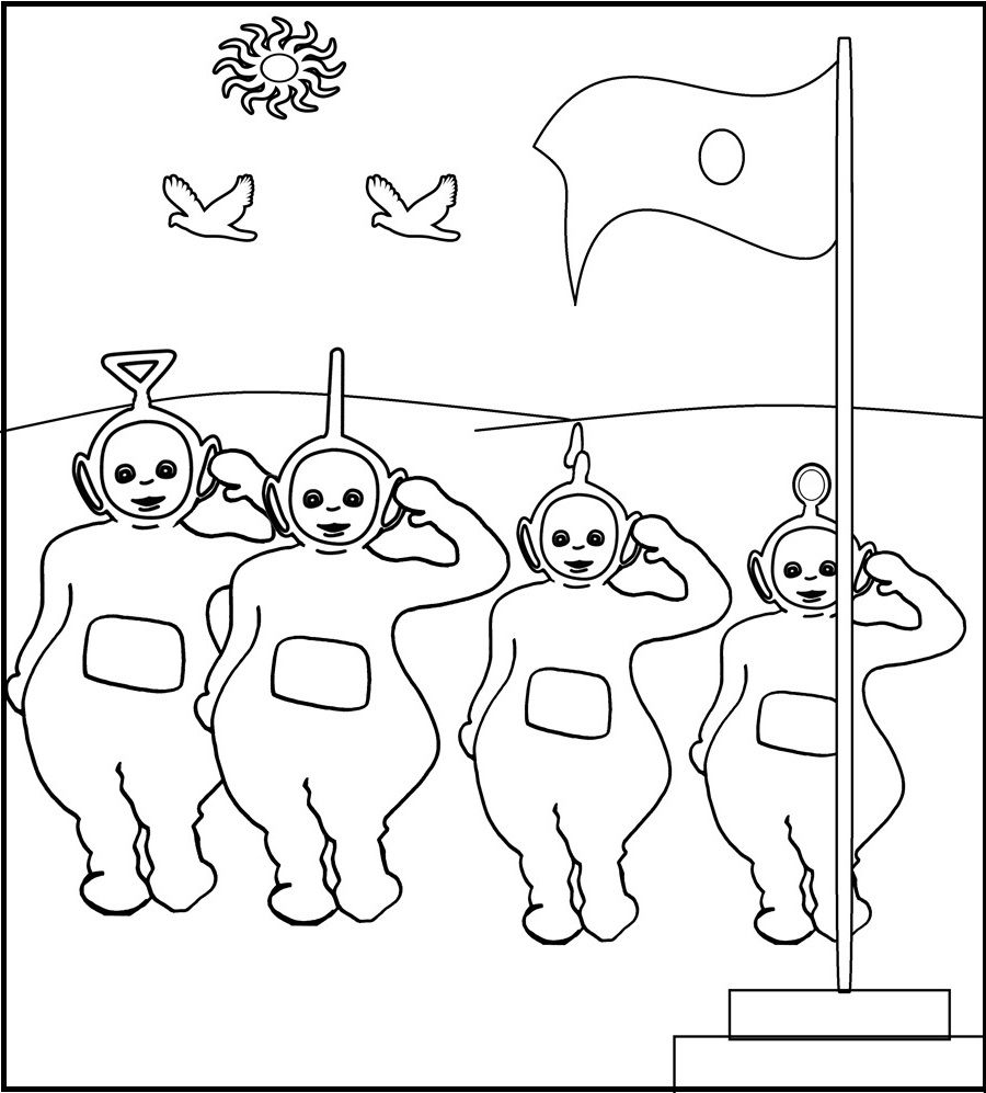 Teletubbies Coloring Book Kids Fun Com: Teletubbies Yours To Flag Coloring Picture For Kids