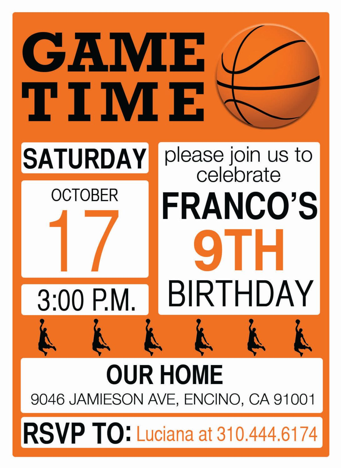 Basketball theme - Birthday Party Invitations - Personalized - Print ...