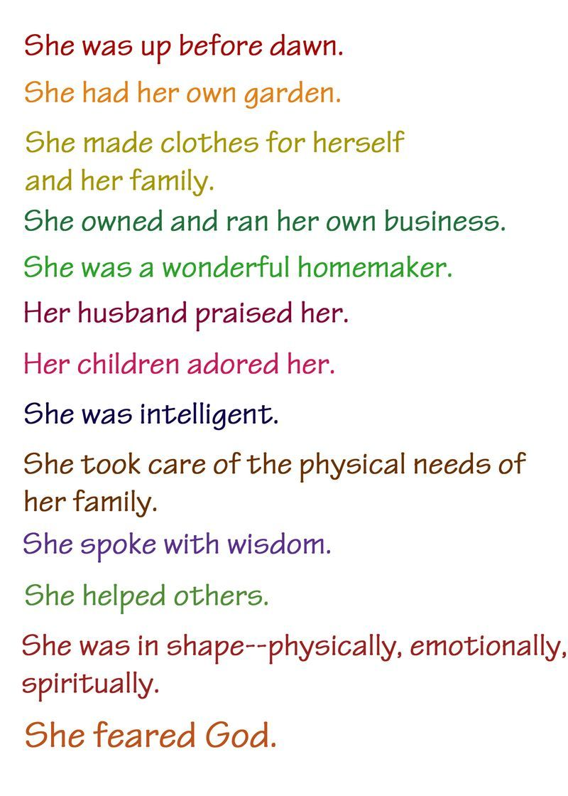 Proverbs 31 ~ the example of the Proverbs 31 woman   Words of ...
