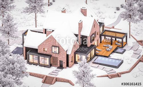 3d rendering of modern cozy clinker house on the ponds with garage and pool for sale or rent with beautiful landscaping on background. Cool winter evening with warm cozy light inside. , #AD, #garage, #ponds, #sale, #pool, #house #Ad