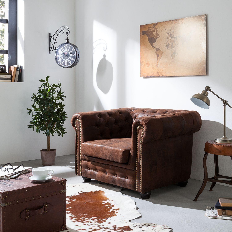 Fauteuil Torquay Aspect Vieux Cuir Marron Mobilier De Salon Meuble De Style Meubles En Ligne