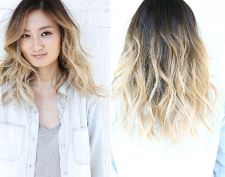 Frisuren blond braun mittellang