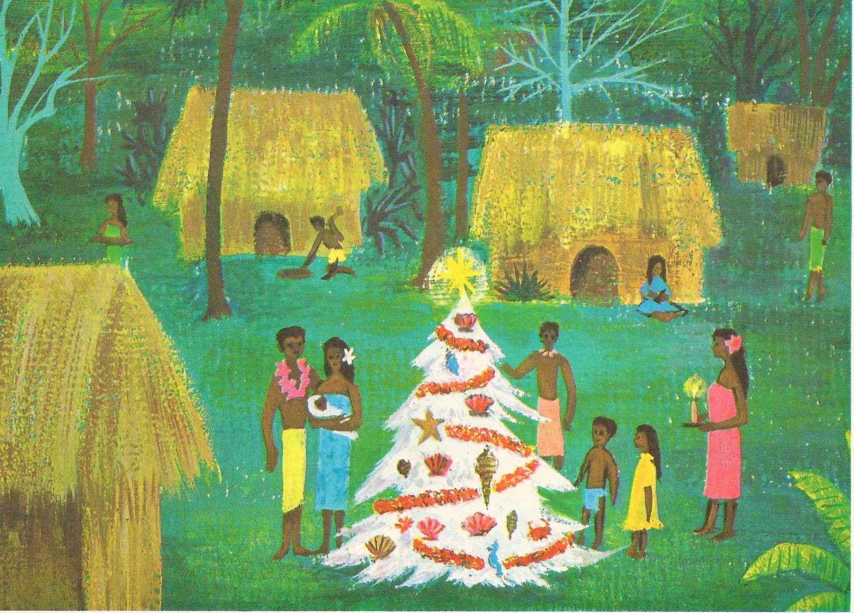 Vintage Hawaiian Christmas Card From Lum Feher Press 15150