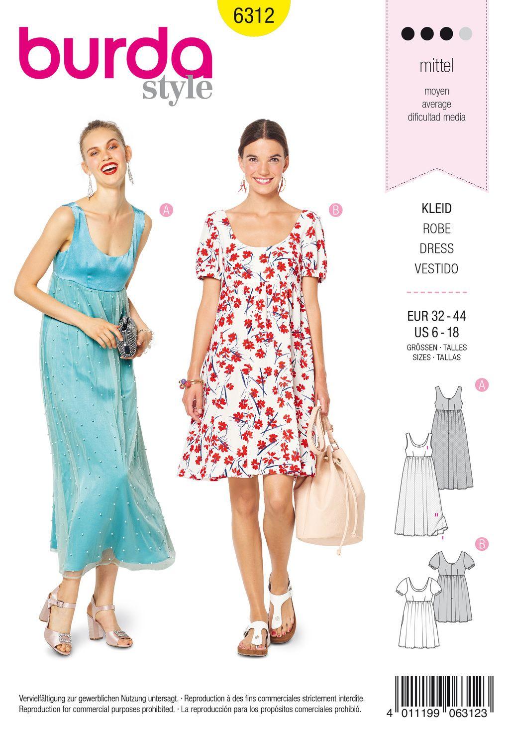 Empirekleid  Mode zum Selbernähen im burda style Onlineshop