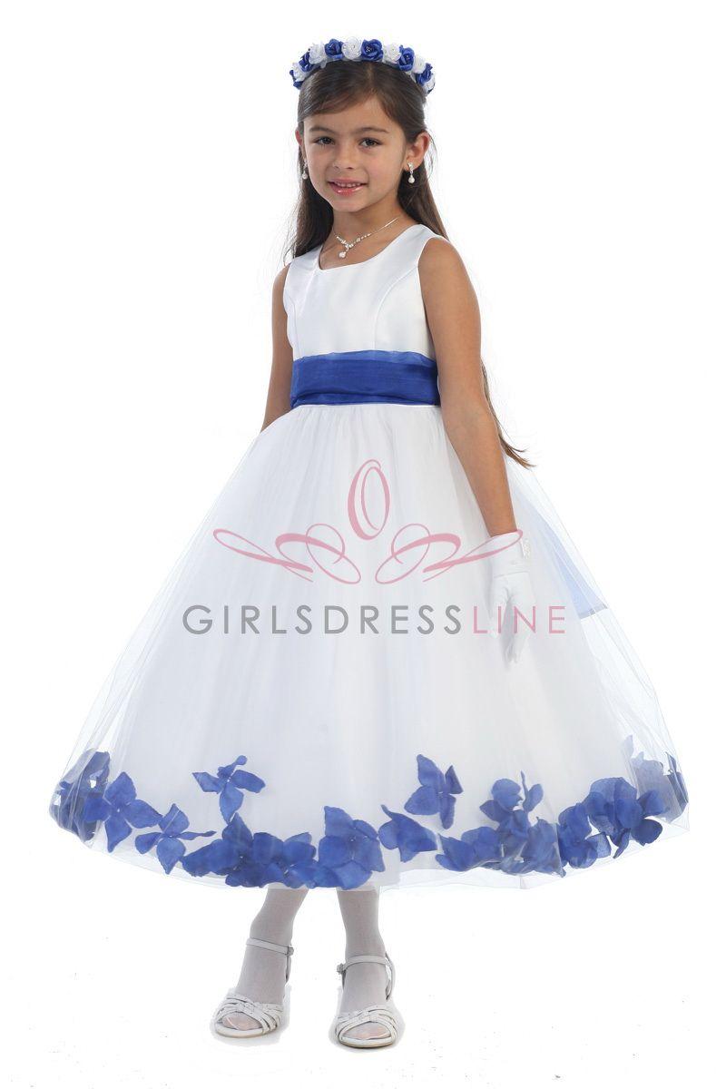 White Satin & Tulle Flower Girl Dress with Royal Blue Petals & Sash ...