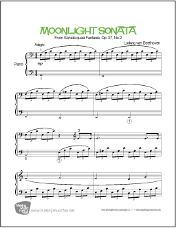 Moonlight Sonata by Composer Ludwig van Beethoven  Print and