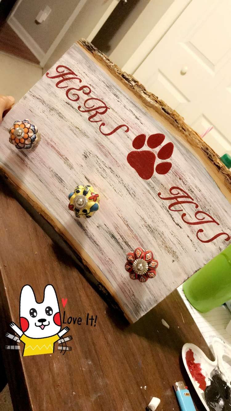 DIY His and Hers key holder/dog leash. Wall decor