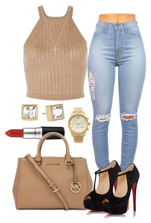 """""""Untitled #219"""" by bvbyyy ❤ liked on Polyvore featuring MAC Cosmetics, Michael Kors, Christian Louboutin and Gucci"""