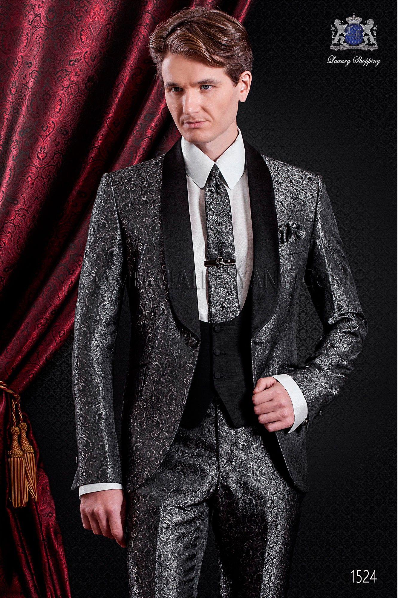 Traje italiano moderno gris jacquard. Esmoquin moda colección emotion 1524  Ottavio Nuccio Gala. Traje Esmoquin 3f670f28861