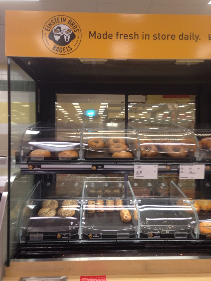 Einstein bagels in the bakery dept we get plain or blueberry Has